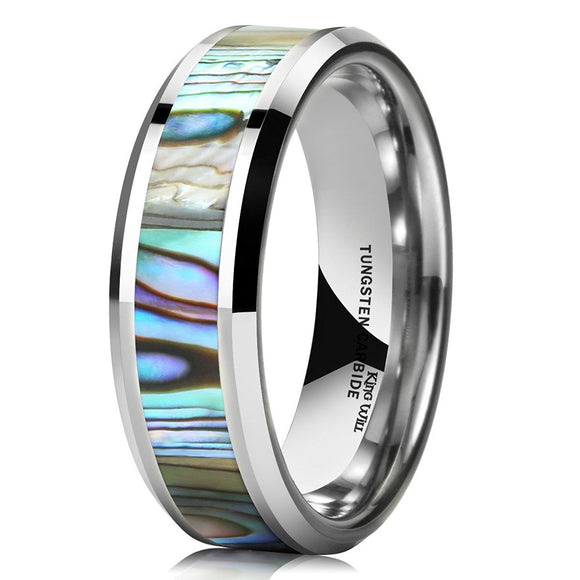 King Will NATURE Men's 7MM Tungsten Carbide Ring Abalone Shell Inlay Polished Wedding Engagement Band