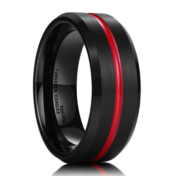 King Will LOOP Thin Red Groove Black Brushed Tungsten Carbide Wedding Band Ring Comfort Fit