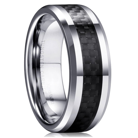 King Will GENTLEMAN 8mm Black Carbon Fiber Tungsten Carbide Wedding Band Ring Polished Finish Comfort Fit