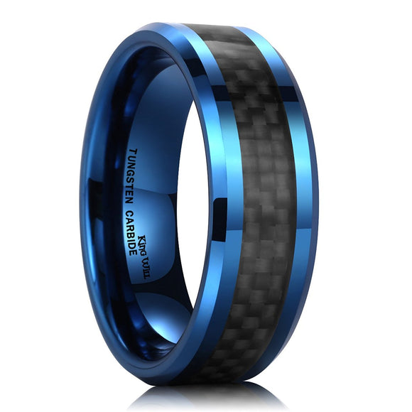 King Will GENTLEMENT 8mm Blue Tungsten Carbide Ring Black Carbon Fiber Wedding Band Polished Finish Comfort Fit