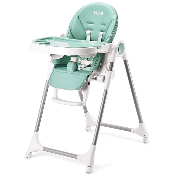 HEAO Adjustable Foldable & Portable 360° Rotating Wheels High Chair-Green