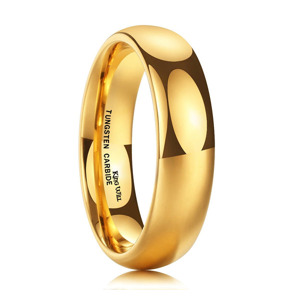 King Will GLORY 6mm Tungsten Ring 24K Gold Plated Wedding Band R245