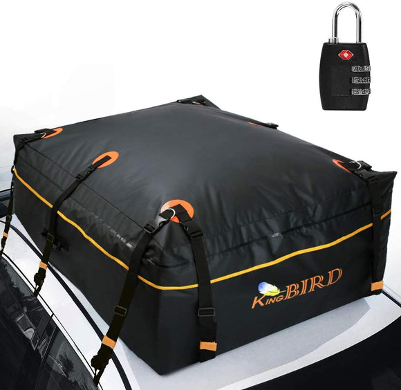 KING BIRD 100% Waterproof Rooftop Cargo Carrier Bag with Built-in Protective Mat, Car Top Carrier with External Non-Slip Mats for All Vehicles with/Without Rack