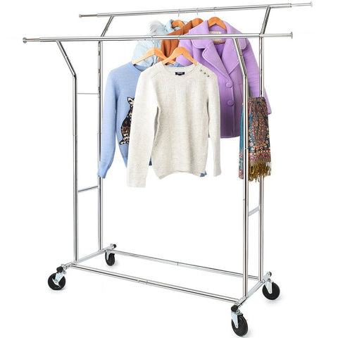 Commercial Grade Clothing Garment Racks Heavy Duty Adjustable Collapsible Rolling Clothes Rack Chrome Finish Double Rail