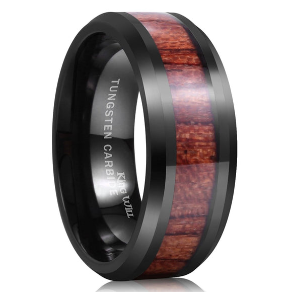 King Will NATURE 8mm Black Tungsten Ring Wood Inlay Wedding Band R183