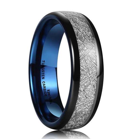 King Will METEOR Unisex 7mm Black and Blue Meteorite Inlay Wedding Band RM011
