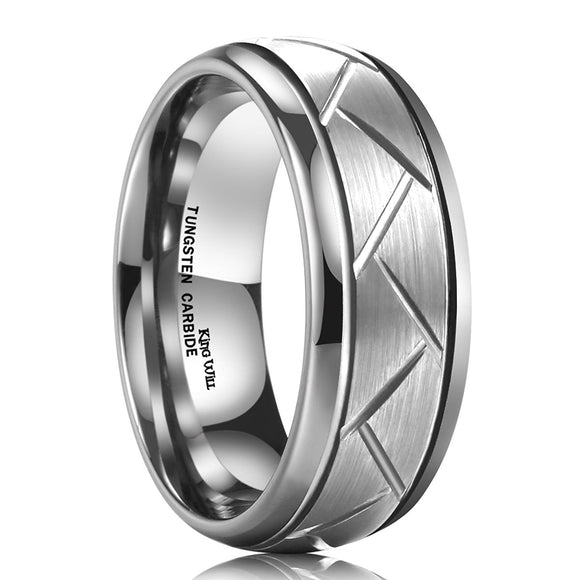 King Will TYRE Men's 8MM Silver Domed Grooved Tungsten Carbide Ring Brushed Wedding Band