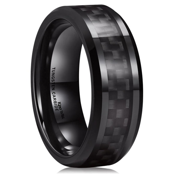 King Will GENTLEMENT 8mm Carbon Fiber Inlay Tungsten Ring R151