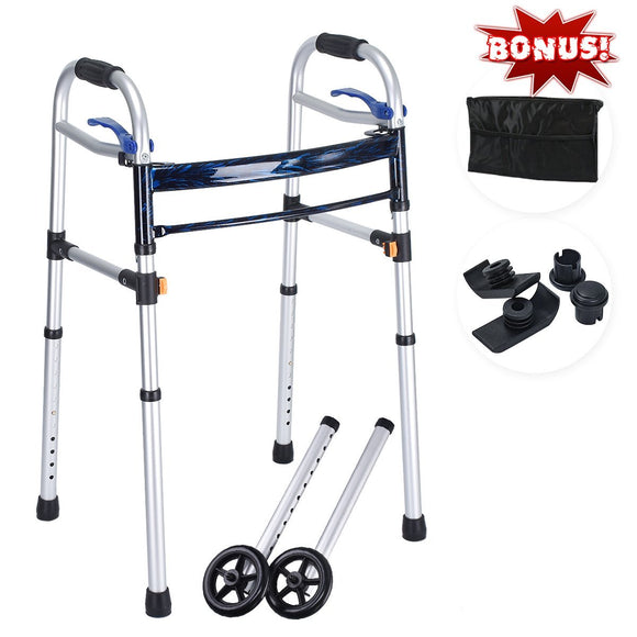 Deluxe 4-in-1 Trigger Release Aluminium Folding Walker with Extra 5