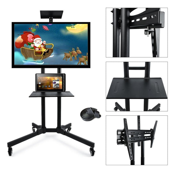 Mobile TV stand cart, Adjustable 32-65 inch LCD LED Flat Panel Screen Rolling TV Stand Mount with Wheels and Two Shelves Supports up to 110 lbs