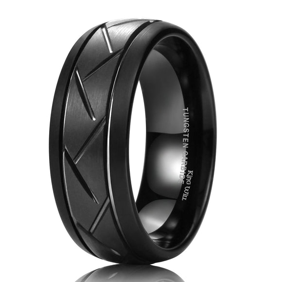 King Will TYRE 8mm Black Domed Tungsten Ring Groove Design Wedding Band R006