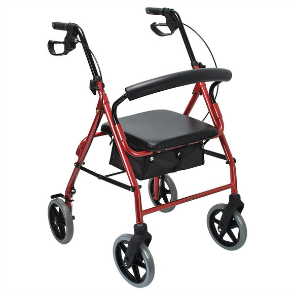 Healthline Deluxe 3 and 4 Wheel Aluminum Rollator Walker Lightweight and Compact, Red/ Blue/ Flame Red/ Flame Blue Available