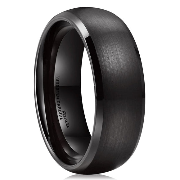 King Will TYRE Black Domed Tungsten Ring 8mm Wedding Band R140