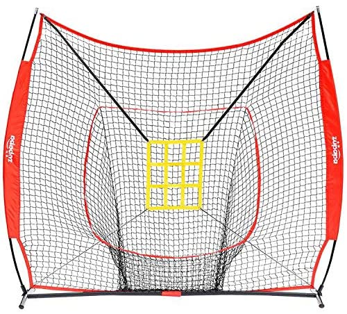 Zupapa 7' x 7' Baseball Practice Net Set-Red