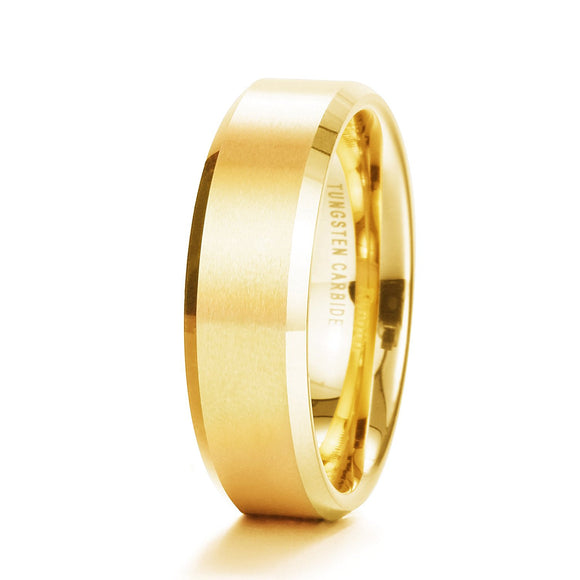 King Will GLORY 6mm Tungsten Ring Gold Plated Wedding Band R097