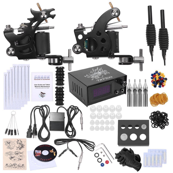 Shark Complete Tattoo Kit 2 Machines Gun Power Supply Needles Grips Tips