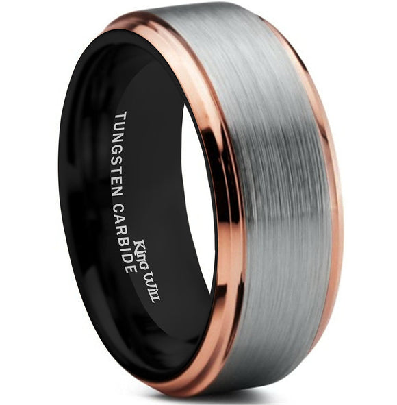 King Will Mens 8mm Brushed Finish Tungsten Carbide Ring 18K Rose Gold Plated Comfort Fit Wedding Band Black Inside
