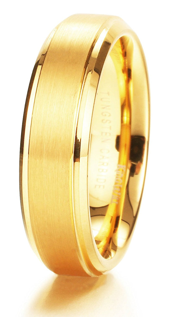King Will GLORY Unisex Tungsten Ring 14k Yellow Gold Wedding Band R102
