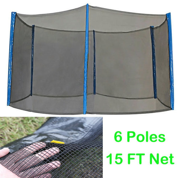 Zupapa Trampoline Net Enclosure Replacement 15FT Feet Black Mesh Universal Use Safety Protection for 6 Poles