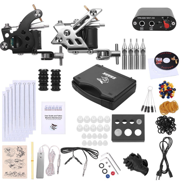 Shark Complete Pro Tattoo Kit 2 Machines Gun with Plastic Carry Case Power Supply Needles Grips Tips