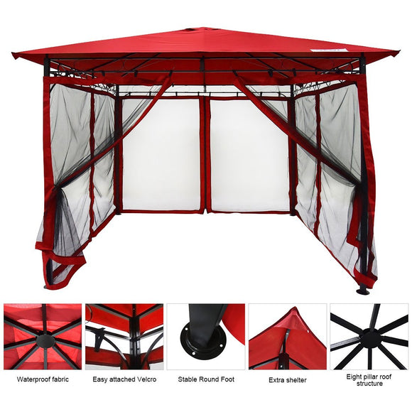Quictent Metal Gazebo Patio Grill Gazebo Canopy Waterproof Backyard tent Red