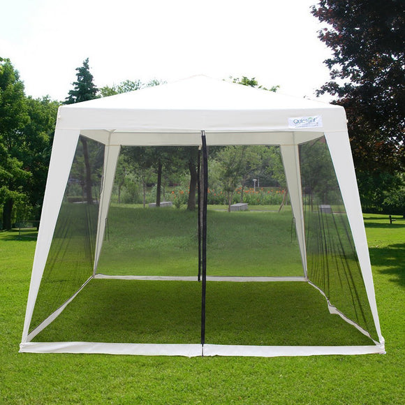 Quictent 10'x10'/7.9'x7.9' Outdoor Canopy Gazebo Party Wedding tent Screen House Sun Shade Shelter with Fully Enclosed Mesh Side Wall Beige