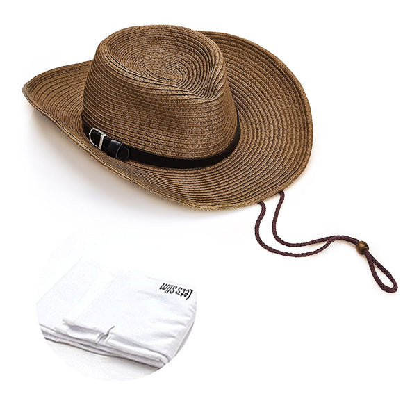 Quality Women UPF50 Packable Summer Sun Hat Wide Brim Flipped Up and Down 56 to 58CM Beige with Sun Protection Sleeves, 1 Pair, Brown