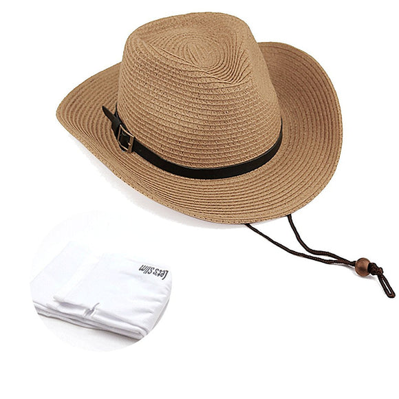 Quality Women UPF50 Packable Summer Sun Hat Wide Brim Flipped Up and Down 56 to 58CM Beige with Sun Protection Sleeves, 1 Pair, Khaki
