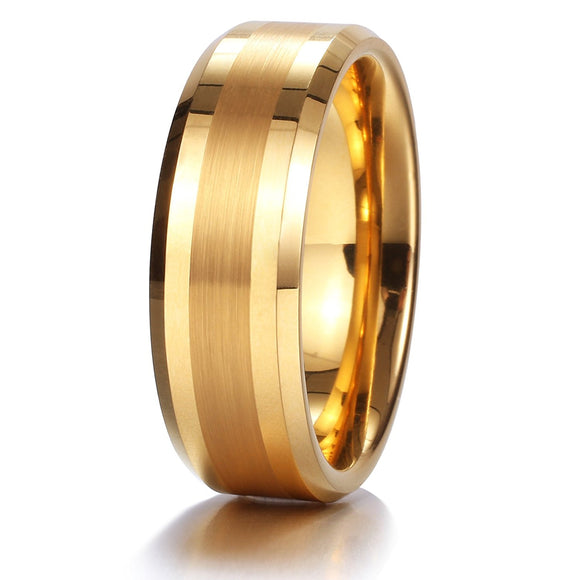 King Will GLORY 8mm Gold Tungsten Ring Mens Wedding Band R144