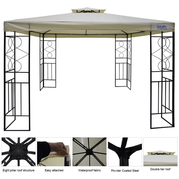 Quictent Metal Gazebo Patio Grill Gazebo Canopy Waterproof Backyard tent Beige