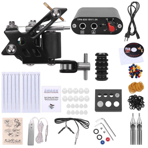 Shark Complete Tattoo Starter Kit Machines Gun Power Supply Needles Grips Tips