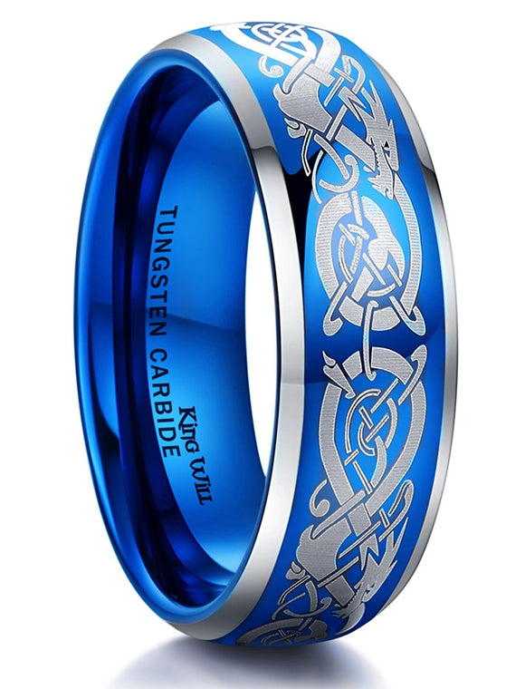King Will Mens 8mm Blue Tungsten Carbide Ring Silver Laser Celtic Knot Dragon Wedding Band Polished Domed Comfort Fit