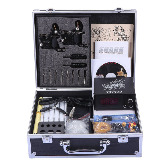 Shark Complete Tattoo Kit 2 Machines Gun Carry Case With Key Power Supply Needles Grips Tips