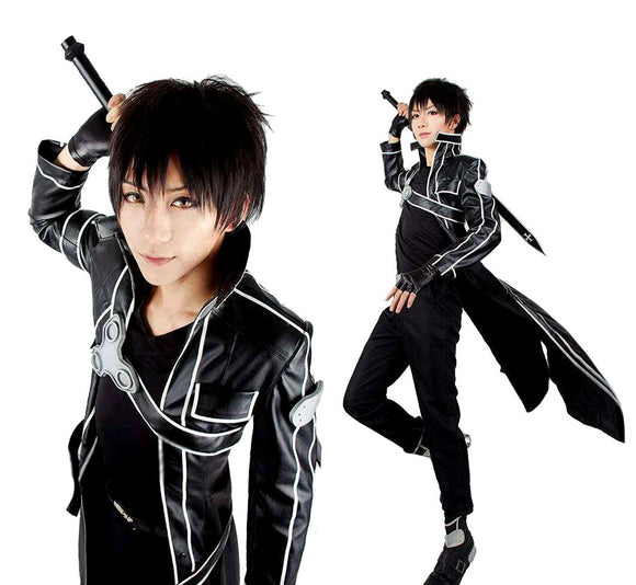 Another Me Men's Costume Sword Art Online Anime Kirito PU Jacket Coat SAO Outfit Cosplay Suit Male