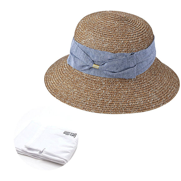 Quality Sun Straw Hat UPF50 Packable Outdoor Beach Travel Summer Sun Hat Wide Brim Flipped Up and Down 56 to 58CM with Sun Protection Sleeves, 1 Pair