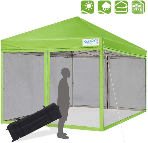 Quictent 8' x 8' Pop Up Canopy With Mesh Netting-Green