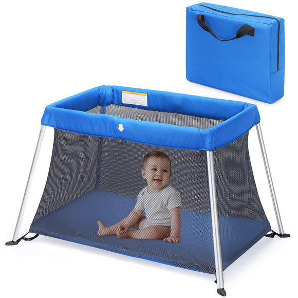 HEAO Portable Baby Playard Travel Crib-Blue