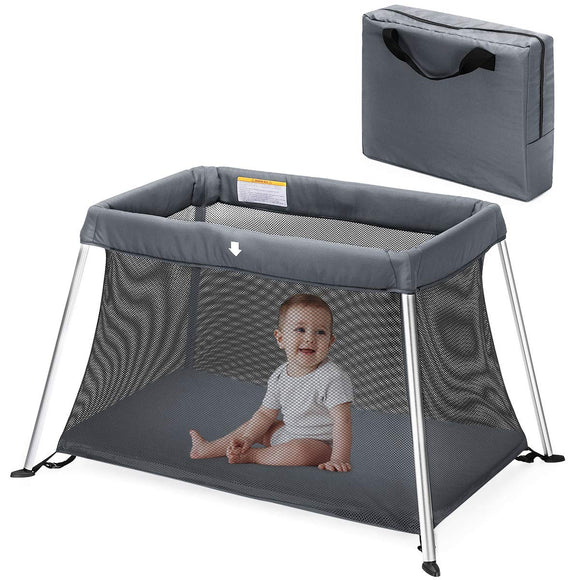 HEAO Portable Baby Playard Travel Crib-Gray