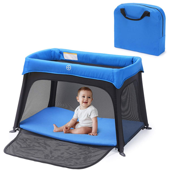 HEAO Portable Baby Playard Travel Crib With Zipper Side-Blue