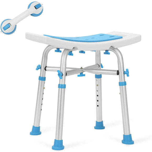 Health Line Upgraded Adjustable Bath Seat-White & Blue