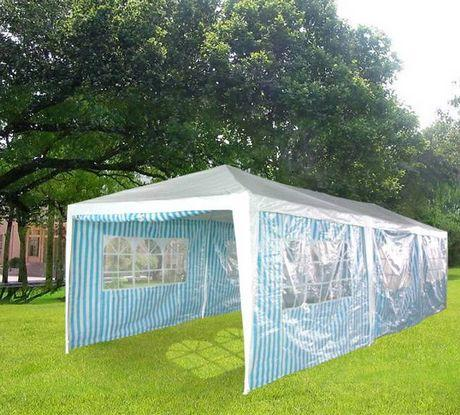 Quictent 10' x 30' Party Tent Colored Stripe-White and Blue