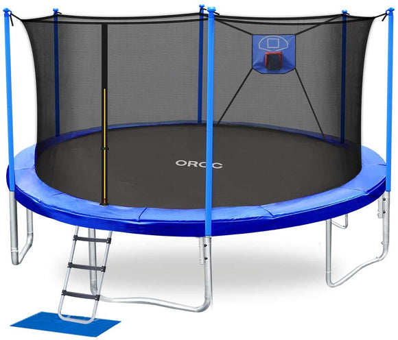 TUV Certified ORCC 15FT Basketball Trampoline with Safety Enclosure Net for Kids