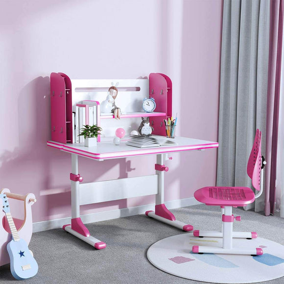 SÄKEE Height Adjustable Kids Desk and Chair Set -Pink
