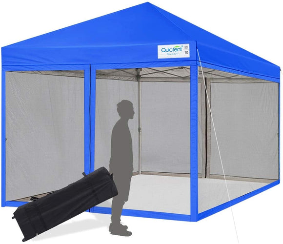 Quictent 8' x 8' Pop Up Canopy With Mesh Netting-Royal Blue
