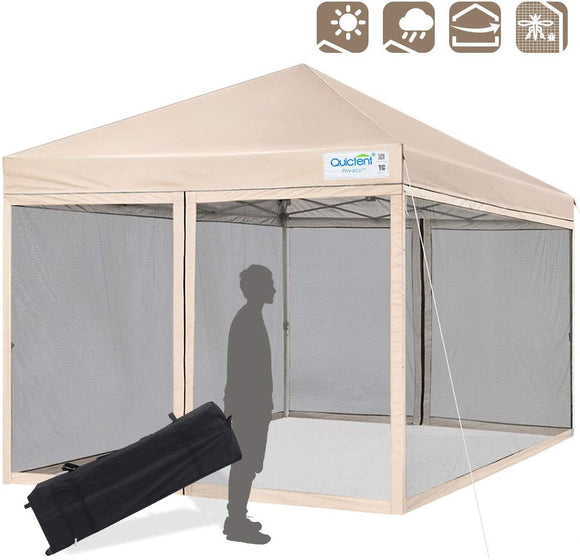 Quictent 8' x 8' Pop Up Canopy With Mesh Netting-Tan
