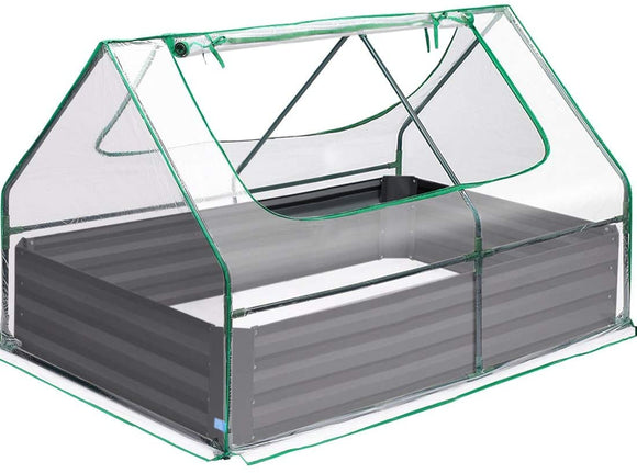 Quictent 49''x37''x36'' Galvanized Steel Garden Bed with Cover-Clear