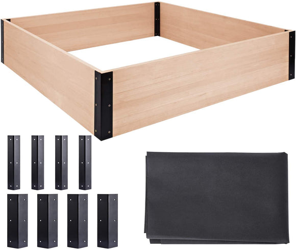 Quictent 48''x48''x11'' Wooden Garden Bed with 8 Mental Connectors