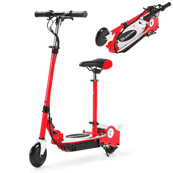 MAXTRA Upgraded E120 Adjustable Handlebar and Removable Seat Folding Electric Scooter-Red