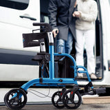 Health Line 2-in-1 Aluminum Rollator Transport Chair-Blue