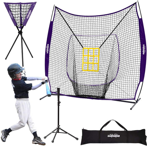 Zupapa 7x7 Feet Baseball Softball Hitting Pitching Net Purple
